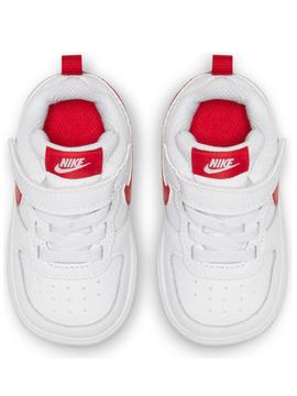 Zapatilla Nike Court Borough Blanco/Rojo Bebe